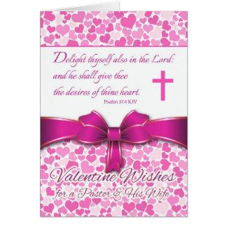 Namorados religiosos para o pastor & a esposa, cartão comemorativo