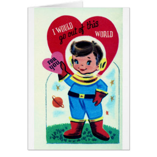 Namorados retros do espaço cartão comemorativo