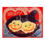 Namorados retros dos ovos fritos do vintage cartão postal