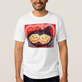 Namorados retros dos ovos fritos do vintage t-shirt