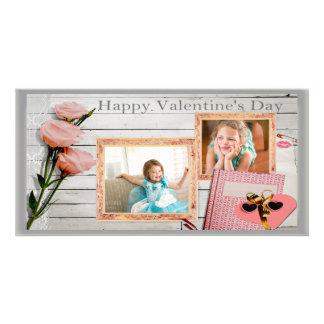 Namorados, rosas cor-de-rosa, cartão com fotos dos cartão com foto