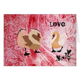 Namorados vermelhos do amor das cisnes do vintage cartão comemorativo