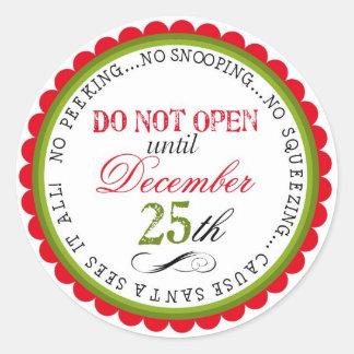Não abra etiquetas do presente do Natal Adesivo Em Formato Redondo