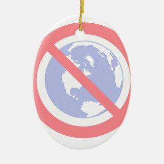 Não ao globo - terra lisa ornamento de cerâmica oval