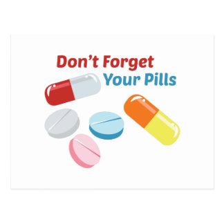 Não esqueça seus comprimidos cartao postal