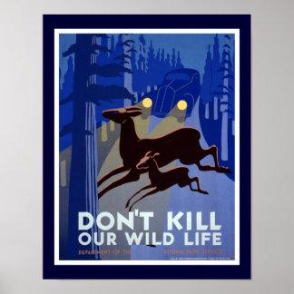 Não mate nosso poster dos animais selvagens