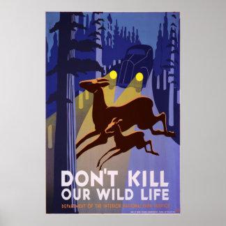 Não mate nossos animais selvagens pôster