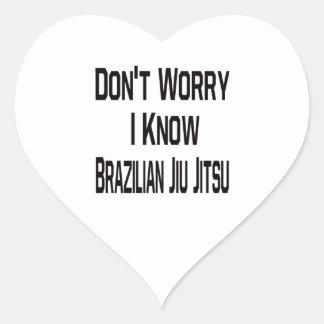 Não me preocupe conhecem o brasileiro Jiu Jitsu Adesivo Em Forma De Coração