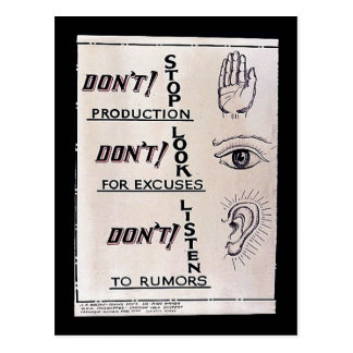 ' Não pare a produção, não param para desculpas, D Cartao Postal