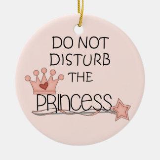 Não perturbe o gancho da princesa porta ornamento de cerâmica redondo