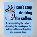 Não pode parar o sinal engraçado do poster do café