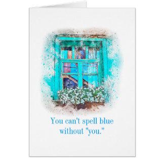 Não pode soletrar o azul sem você faltá-lo cartão