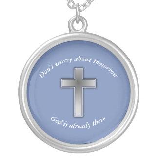Não preocupe a cruz da colar w/Blue