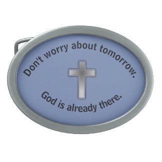 Não preocupe a cruz da fivela de cinto w/Blue