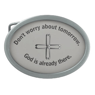 Não preocupe a cruz da fivela de cinto w/Steel