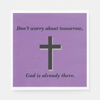 Não preocupe a cruz dos guardanapo w/Black