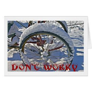 Não preocupe o cartão de Natal com bicicleta
