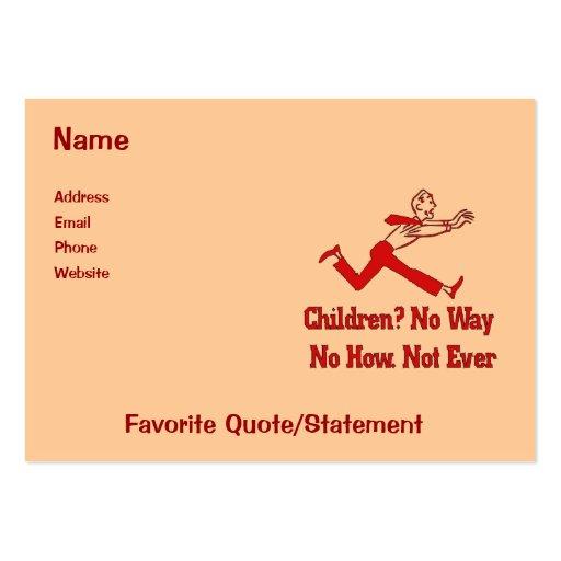 Não queira crianças cartões de visita