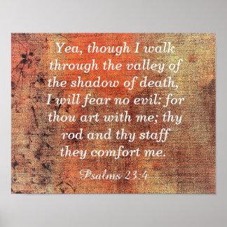 Não tema nenhum mau -- 23:4 dos salmos - impressão