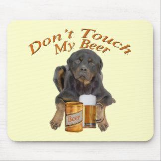 Não toque em minha cerveja Rottweiler Mousepad