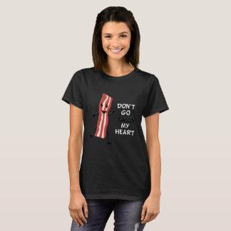 Não vai o bacon minha camisa do preto T do coração