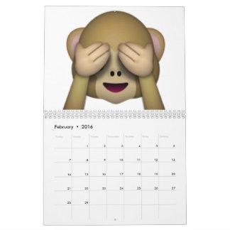 Não veja nenhum macaco mau - Emoji Calendário