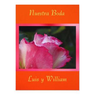 Naranja de Invitación - de Nuestra Boda - de Rosa Convite 16.51 X 22.22cm