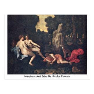 Narciso e eco por Nicolas Poussin Cartão Postal