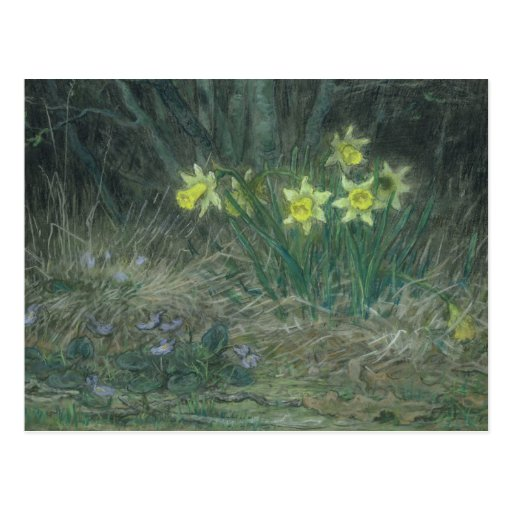 Narciso e violetas, c.1867 cartão postal