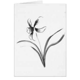 Narciso, flor de Sumi-e Cartão Comemorativo