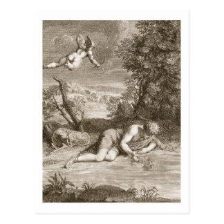 Narciso transformado em uma flor, 1730 (engravi cartão postal