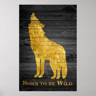 Nascer do pop art do lobo do ouro do falso a ser pôster