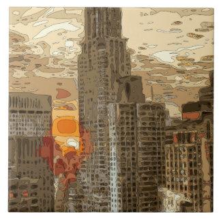 Nascer do sol da manhã no coração de Manhattan Azulejo De Cerâmica