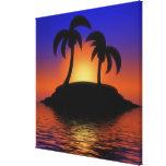 Nascer do sol da palmeira impressão de canvas esticada