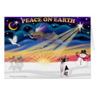 Nascer do sol do Xmas - Fox Terrier do brinquedo Cartão Comemorativo
