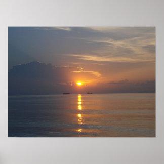Nascer do sol na praia sul Miami - Poster