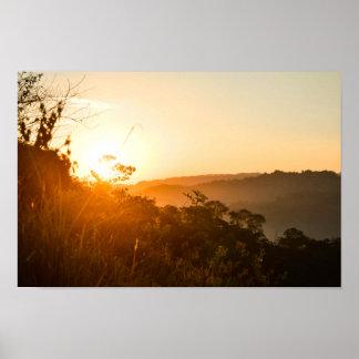 Nascer do sol no papel de poster do valor da