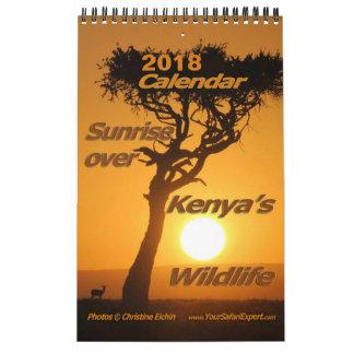 Nascer do sol sobre o calendário do Wildli de