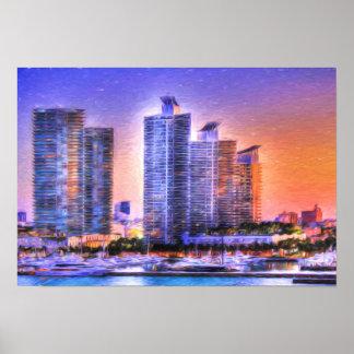 Nascer do sol vibrante da skyline de Miami Poster