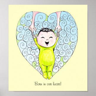 Nascer em nossa arte da parede do bebé do coração posters