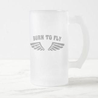 Nascer para voar as asas caneca de vidro fosco