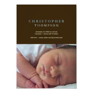 Nascimento azul do bebê da foto do marrom contínuo convite 12.7 x 17.78cm