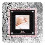 Nascimento cor-de-rosa e preto elegante da foto do convite quadrado 13.35 x 13.35cm