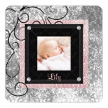 Nascimento cor-de-rosa e preto elegante da foto do convite personalizado