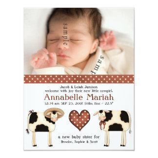 Nascimento novo da foto do bebé do casal do país convite 10.79 x 13.97cm