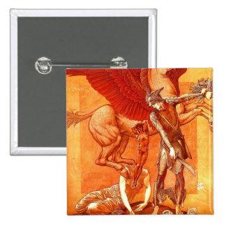 Nascimento pintura das belas artes do ~ de Pegasus Bóton Quadrado 5.08cm