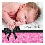 Nascimento preto cor-de-rosa da foto do bebé convite personalizado