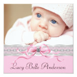 Nascimento preto cor-de-rosa da foto do bebé das convites personalizado