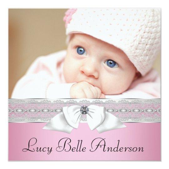 Nascimento preto cor-de-rosa da foto do bebé das convite quadrado 13.35 x 13.35cm