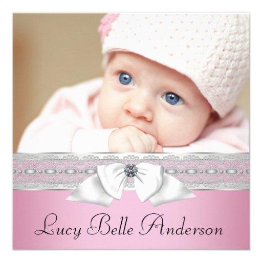 Nascimento preto cor-de-rosa da foto do bebé das p convites personalizado
